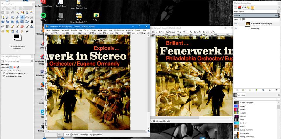 Zwei geöffnete Dateien in Gimp