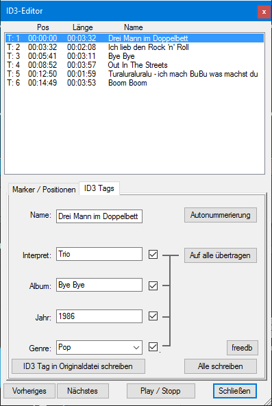 ID3 Daten manuell einpflegen