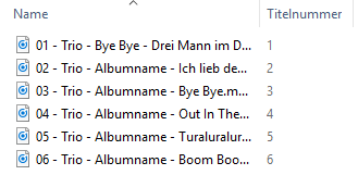 Umbenannte Dateien