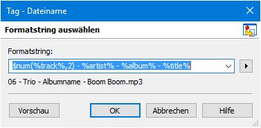 MP3Tag Formatstring